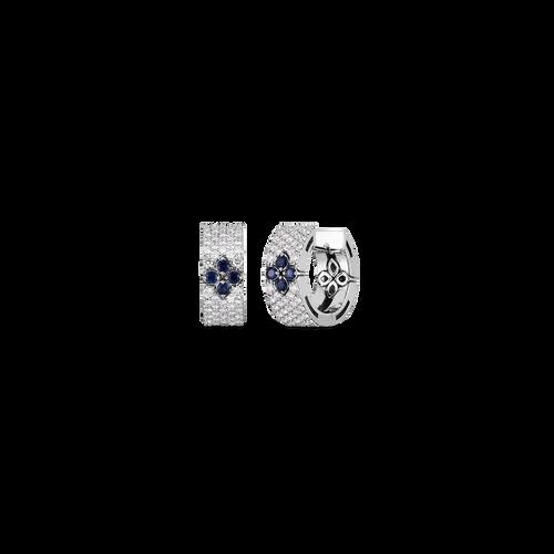 18K Love in Verona Pave Diamond & Blue Sapphire Snap Hoop Earring