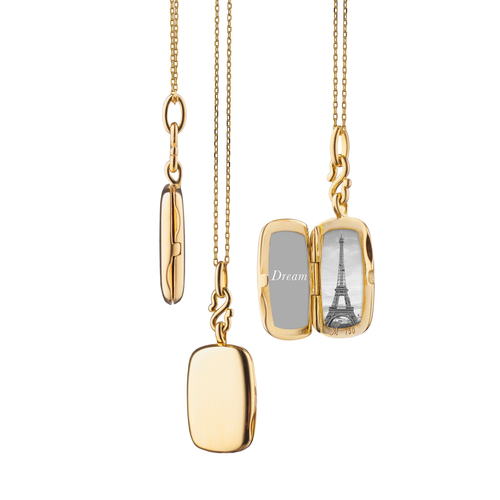 "18K Slim ""Britt"" Gold Locket Necklace"