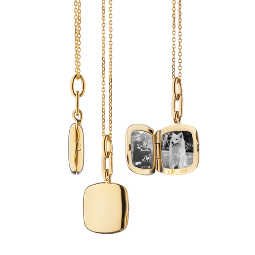 """18K Slim """"Viv"""" Gold Locket Necklace"""
