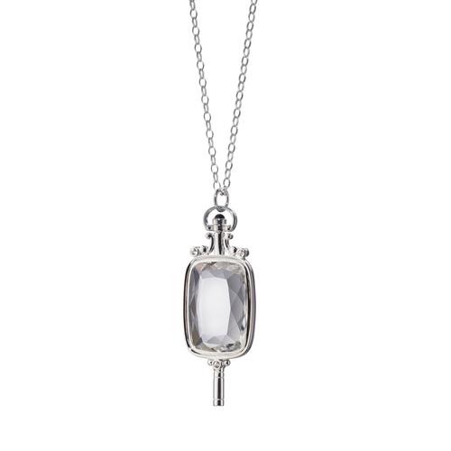 Silver Rectangular Key Necklace