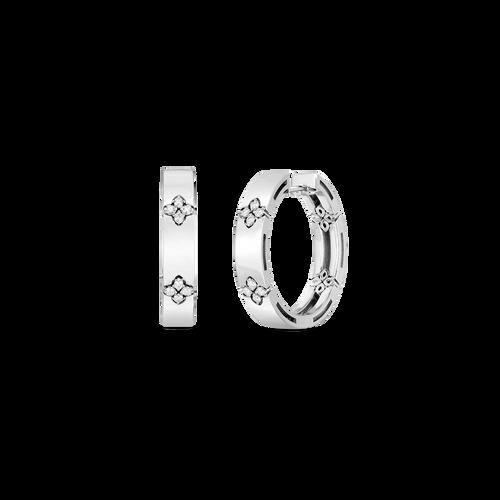 18K Love in Verona 20mm Hoop earring with Diamond Flower Accent