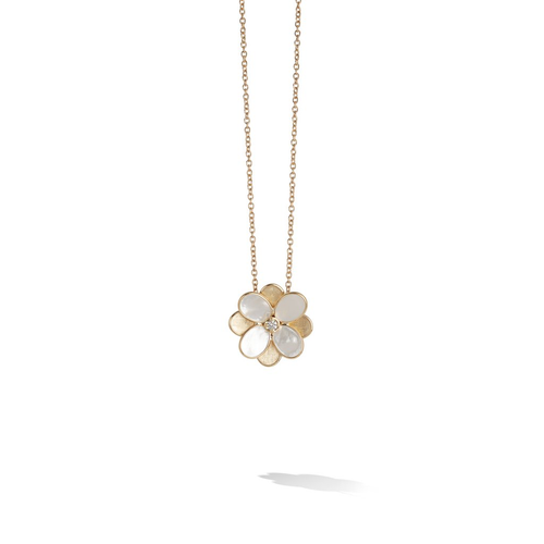 Petali Collection 18K Yellow Gold and White Mother of Pearl Small Flower Pendant