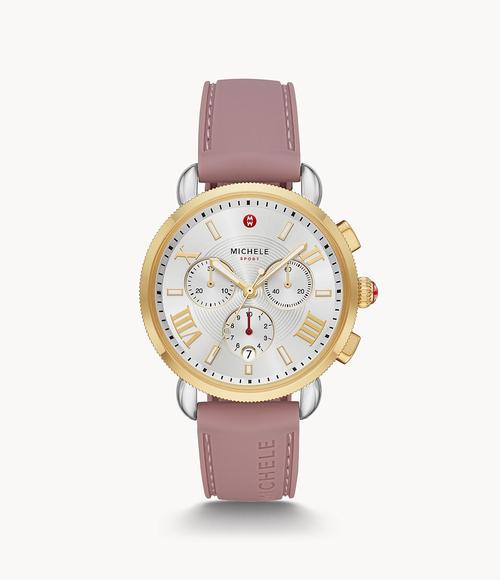 Sporty Sport Sail Gold Tone Watch- Pink Strap