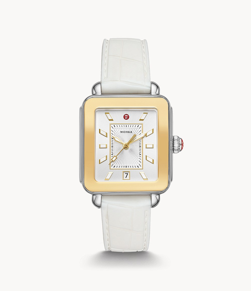 Deco Sport Two-Tone Watch- White Strap