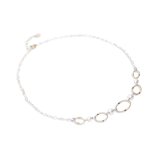 Marco Bicego® Marrakech Onde Pearl Collection 18K Yellow Gold and Pearl Link Five Station Necklace