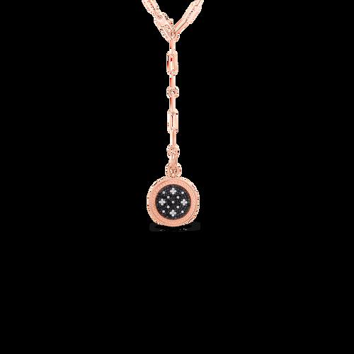 18K Rose Gold Venetian Princess Black and White Diamond Medallion Necklace