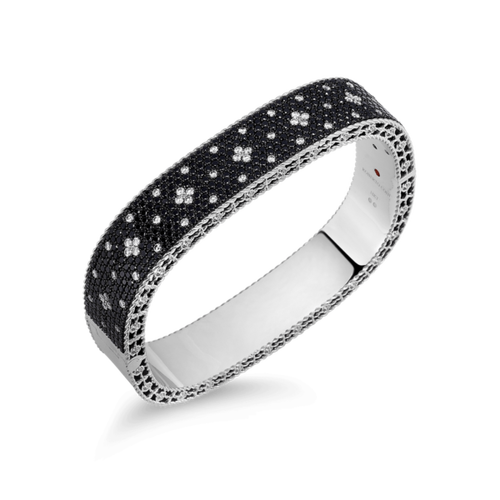 Medium Bangle with Black and White Fleur De Lis Diamonds