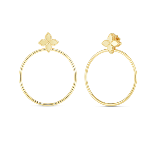 18K Princess Flower Earring with Attached Hoop
