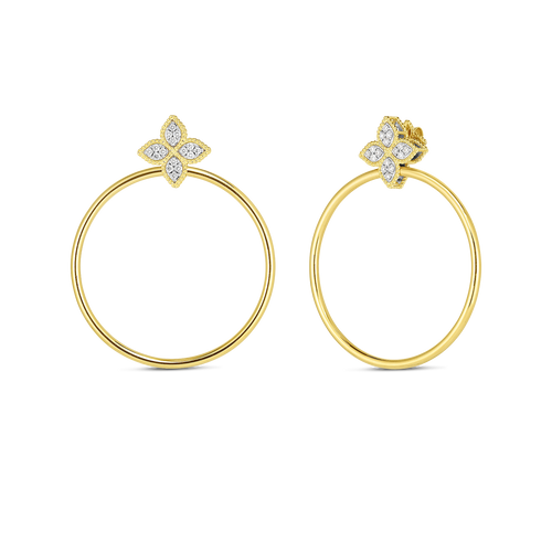 18K Diamond Princess Flower Earring with attached Hoop