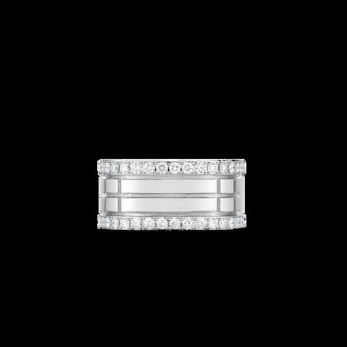18K 4 Row Portofino Band With Diamond Edges- White Gold