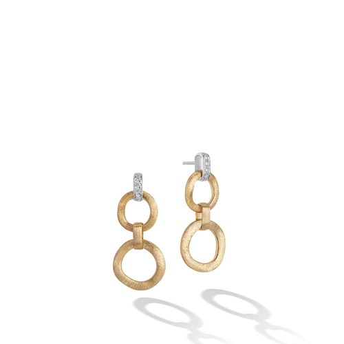 Jaipur Collection 18K Yellow Gold Double Drop Earrings with Diamonds