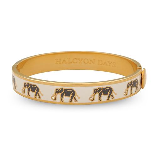 Elephant Motif CREAM & GOLD Bangle