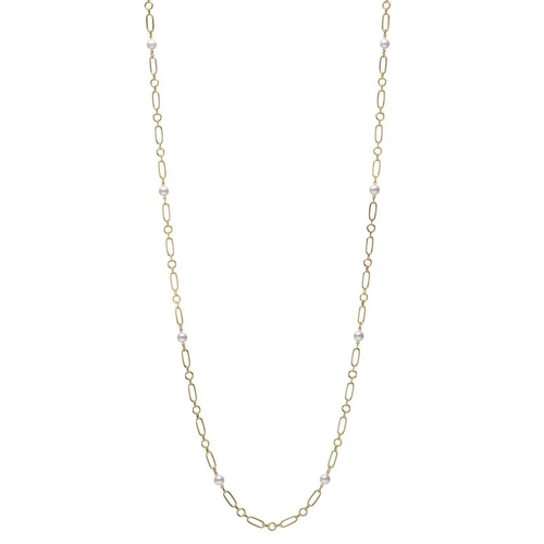 M Code Akoya Cultured Pearl Necklace 18K Yellow Gold - 32inch