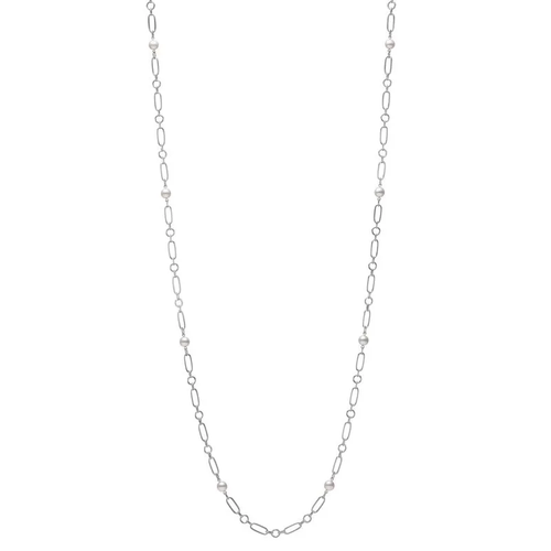 M Code Akoya Cultured Pearl Necklace 18K White Gold- 32inch