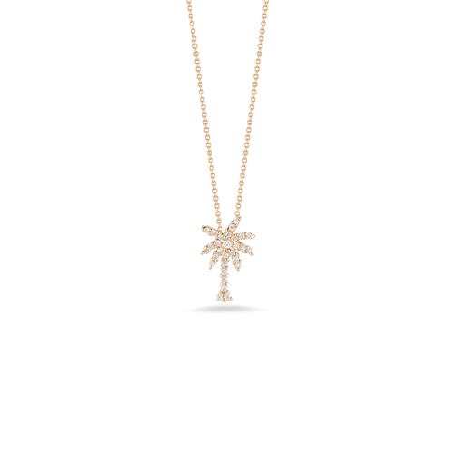 18K Gold Small Palm Tree Pendant with Diamonds- White or Rose Gold