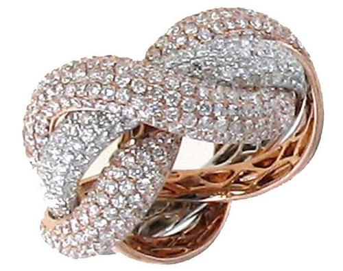 Roberto Coin Fantasia 18K Yellow, White, Rose Gold Diamond Ring