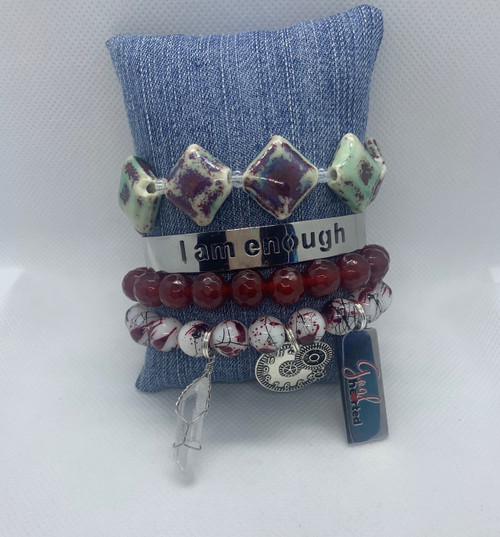 You're more than enough set. Made with agates and other beads. Please note that the I am enough bracelet is not included with this set.