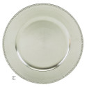 Silver Beaded Round Charger Plate, Case of 12