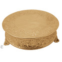 "16"" Round Gold Finish Cake Stand, Floral Design"