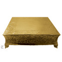 """18"""" Square Gold Finish Cake Stand, Floral Design"""