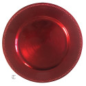 Red Beaded Round Charger Plate, Case of 24