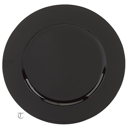 Black Round Charger Plate, Case of 12