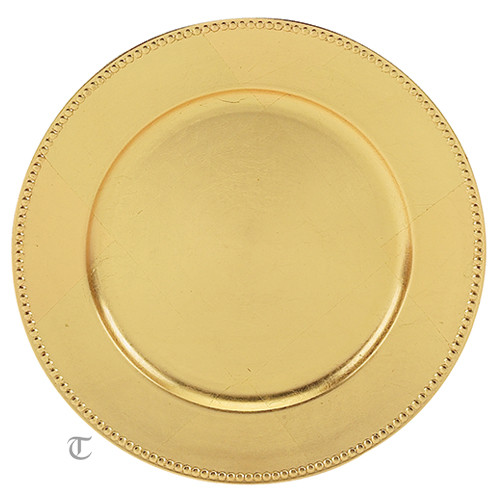 Gold Beaded Round Charger Plate, Case of 12