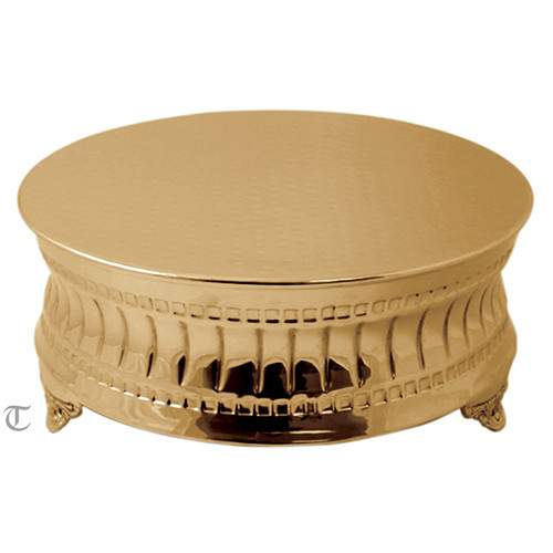 "16"" Gold Finish Round Cake Stand, Contemporary"