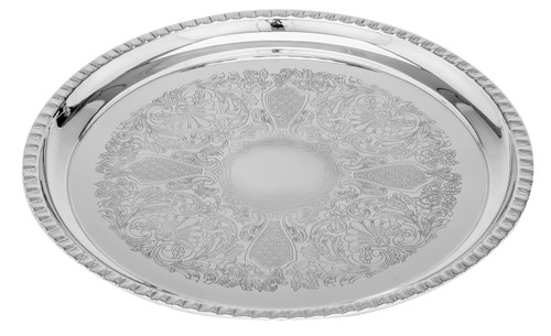 "14"" Round Tray, Gadroon Border"