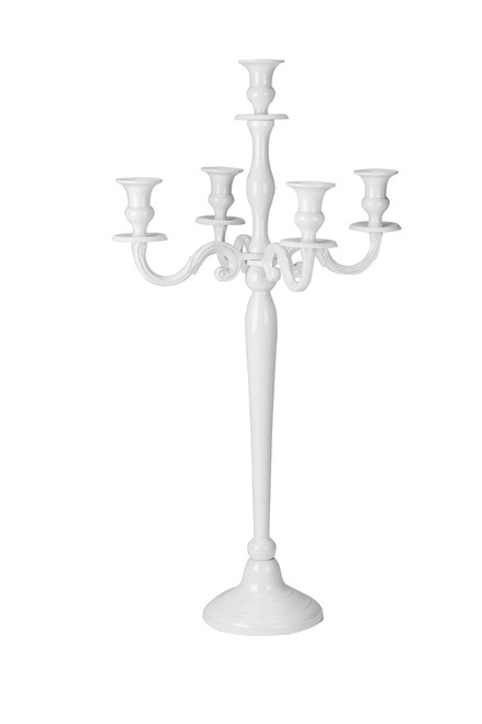 """31"""" Tall White Candle Holder, Five Light Design"""