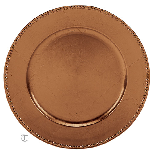 Copper Beaded Rd. Charger Plate, Case of 24