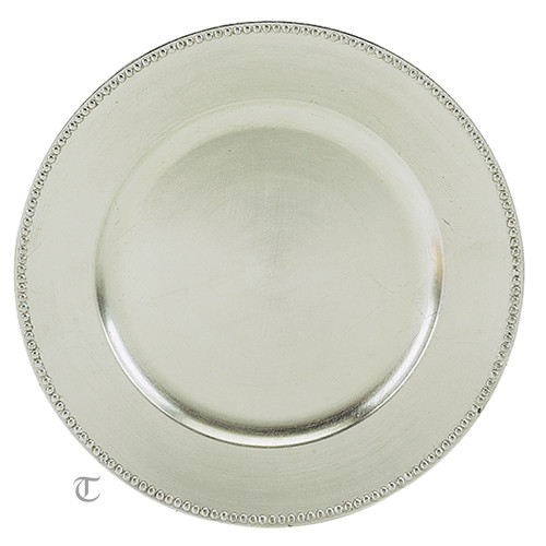 Silver Beaded Round Charger Plate, Case of 24