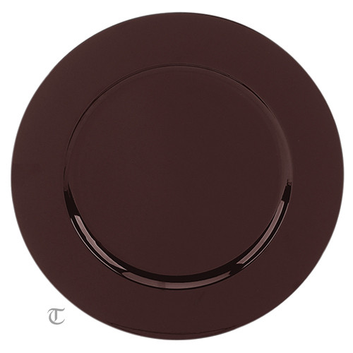 "13"" Brown Plain Charger Plate, Sample"