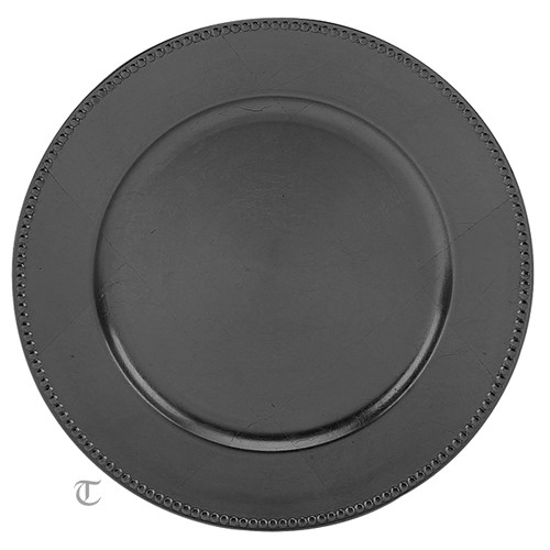 """13"""" Black Beaded Charger Plate, Sample"""