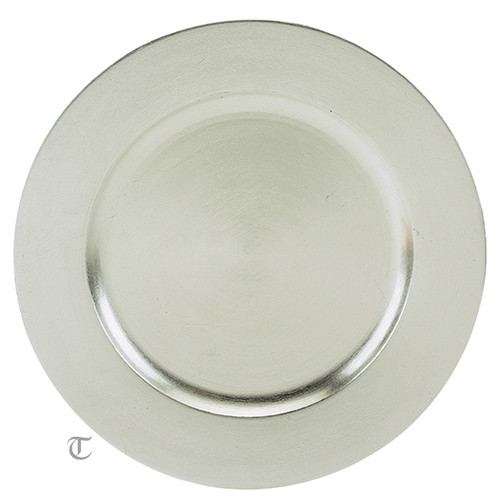 """13"""" Silver Plain Charger Plate, Sample"""