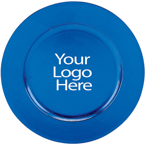 Laser Engraved Blue Round Charger, Case of 12