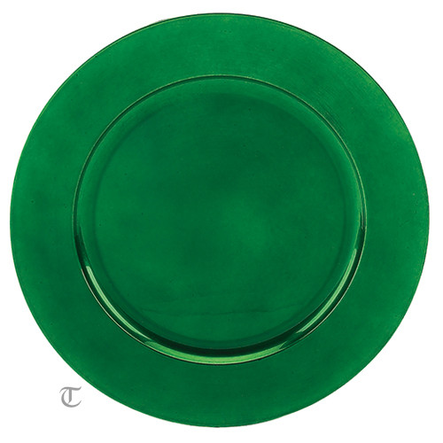 "13"" Green Plain Charger Plate, Sample"