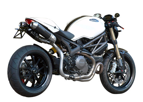"Spark Ducati Monster 1100 EVO Carbon High ""Double-Round"" Semi-Full Stainless Steel Exhaust System (11-13)"