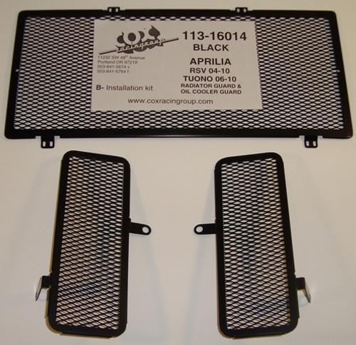 Cox Racing Radiator & Oil Cooler Guard Kit (Black) Aprilia RSV/Tuono 2004-2010