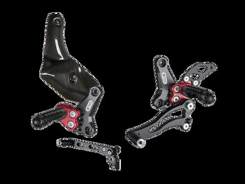Bonamici Ducati Streetfighter Rearsets 848/1098 (09-16) w/ Carbon Fiber Exhaust Guard