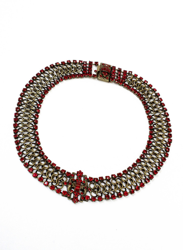 Michal Negrin Chainmail Rhinestone Necklace, #15684