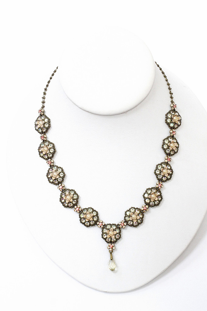 Michal Negrin Pale Peach Flower Necklace, #15875