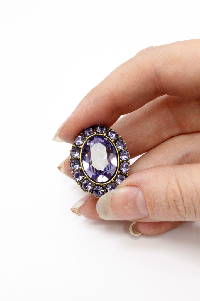 Michal Negrin Large Oval Purple Swarovski Crystal Ring, #15731