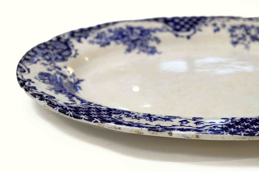 Transfer Brittania Style Blue Bell  Glasgow Antique Oval Platter