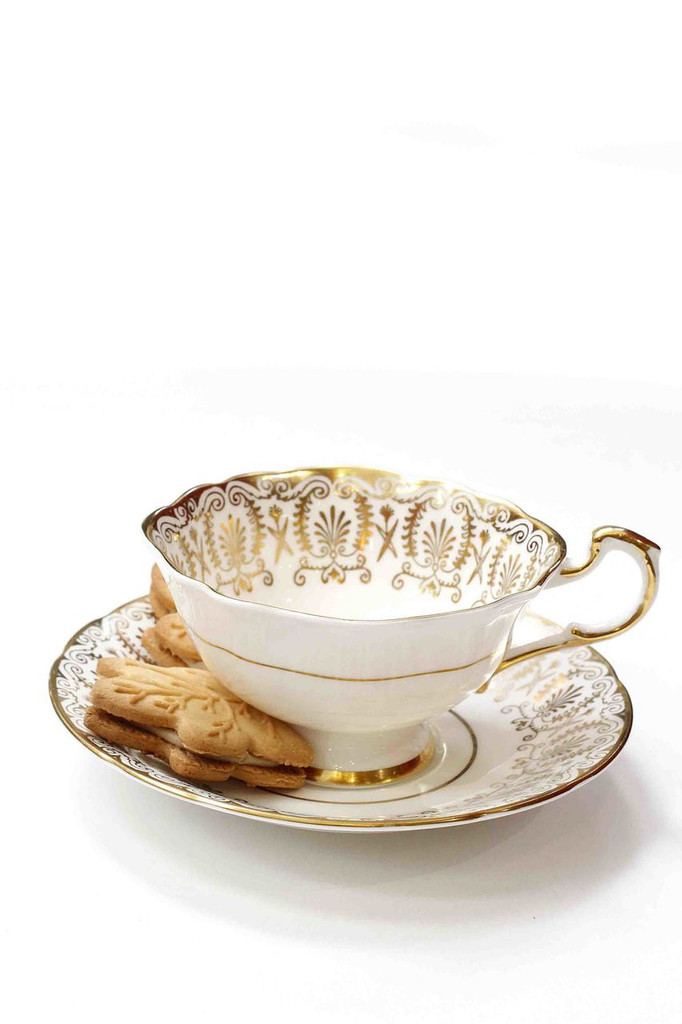 Paragon White with Gold Pattern Tea Cup and Saucer