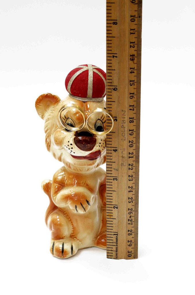 Vintage Ceramic Lion Pin Cushion and Scissors Holder