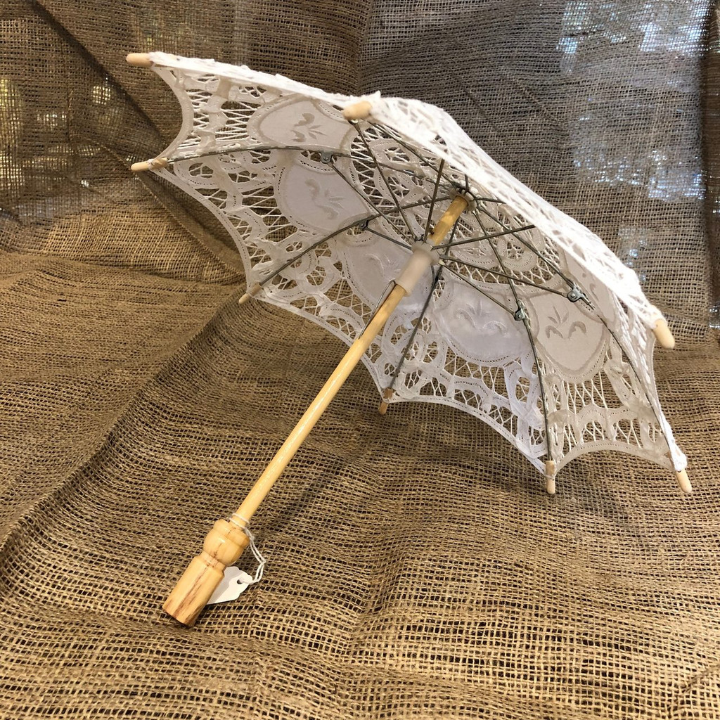 White Old-Fashioned Lace Parasol/Umbrella Small