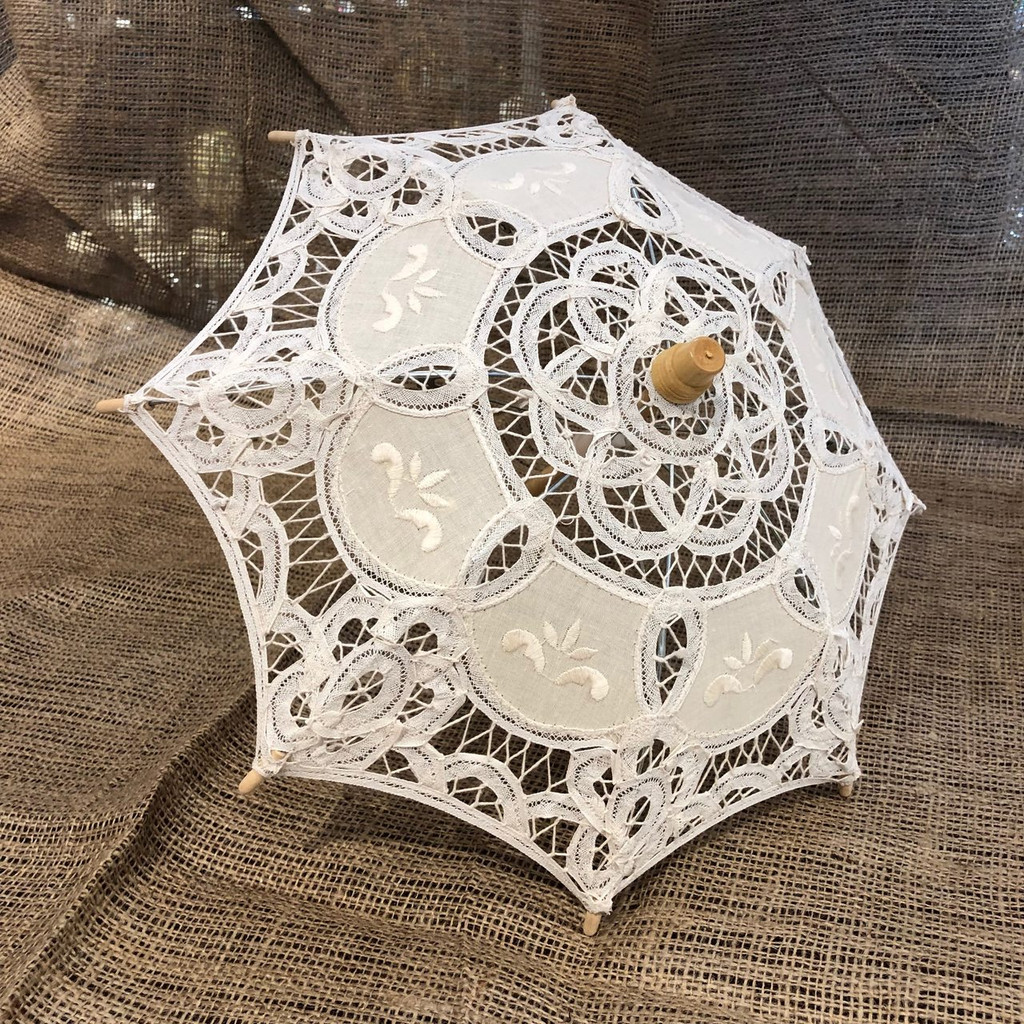 Old-Fashioned Beige/Ecru Lace Parasol Umbrella