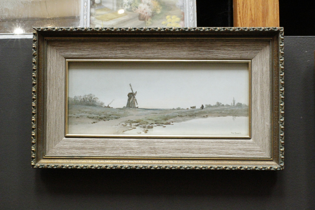 Wood framed textured print - landscape with windmill - Albert Bowers
