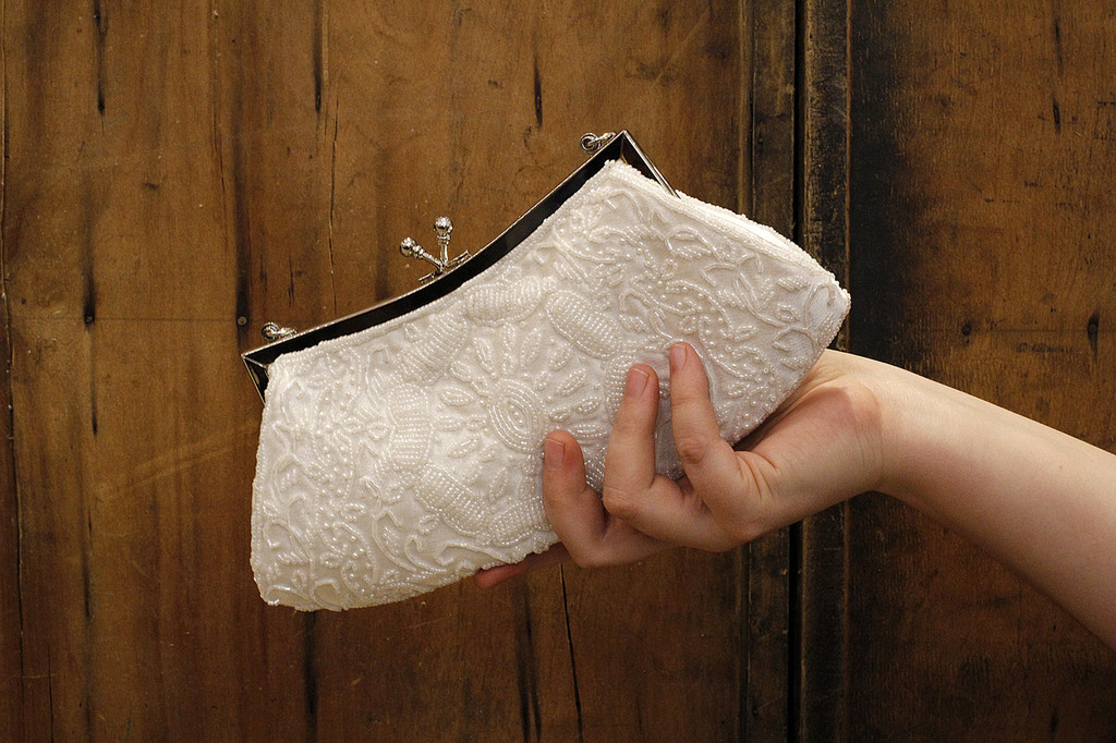 Reproduction White Beaded Clutch